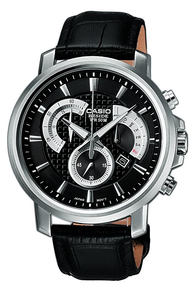 Montre classique homme CASIO multifonctions BEM-506L-1AVEF avec bracelet en cuir noir en magasin à Aix