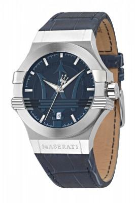 R8851108015 BOITIER ACIER FD BLEU  Potenza  Montre homme sport chic de la marque Maserati    POTENZA 42mm 3H BLUE DIAL BLUE STRAP